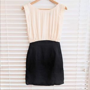 French Connection Cream and Black Dress US 2